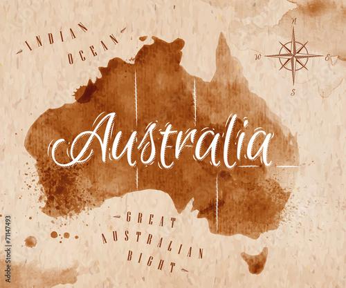 Photo Map Australia retro