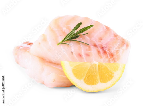 Stampa su Tela Cod fish fillet with lemon, rosemary on white