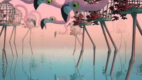 Fotografie, Obraz Flamingo in Fog