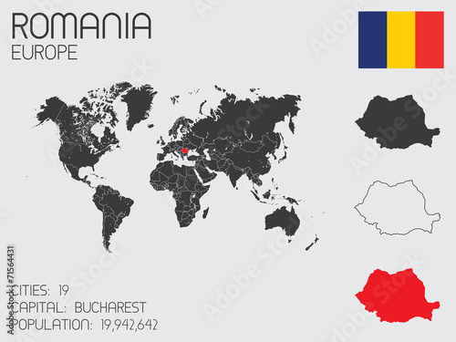 Photo Set of Infographic Elements for the Country of Romania