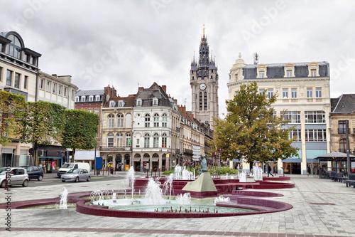Obraz na płótnie View from Place d'Armes square on Belfry of Douai