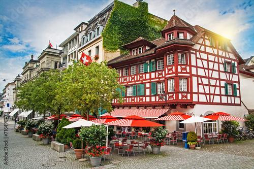 Obraz na plátně Street in Lucerne, Switzerland