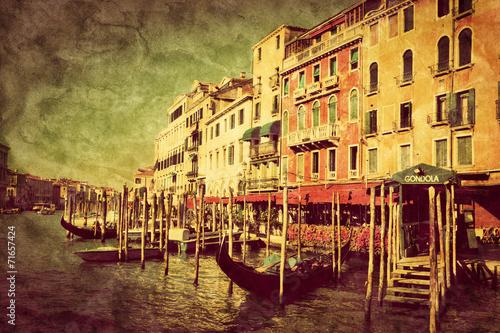 Venice, Italy. Gondolas on Grand Canal, Italian Canal Grande