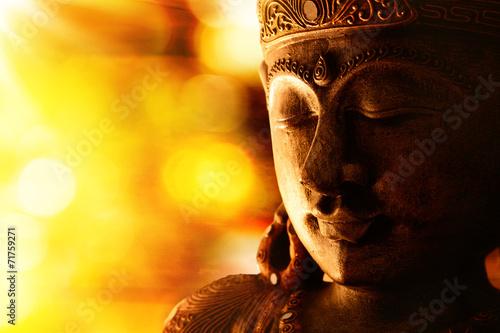 Canvastavla bronze buddha statue