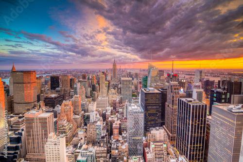 Fototapeta Krajobraz Nowego Jorku podczas zachodu słońca panoramiczna