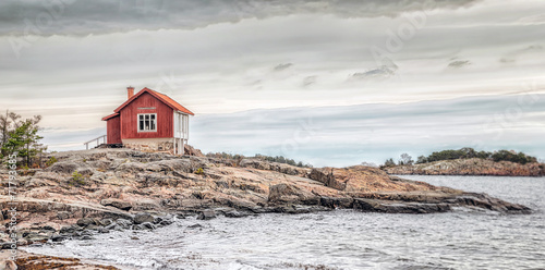 Платно Red house at sea shore in dull colors at autumn