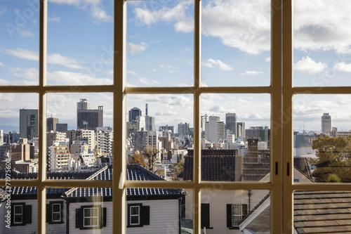Fototapeta Widok z okna na miasto panoramiczna