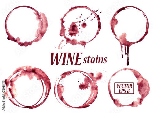 Fotografia, Obraz Watercolor wine stains icons