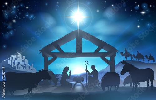 Leinwand Poster Christmas Nativity Scene