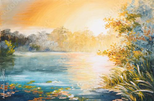 malarstwo - zachód słońca nad jeziorem