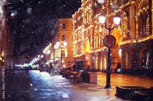 Fototapeta premium ulica dla pieszych miasta nocne światła miasta