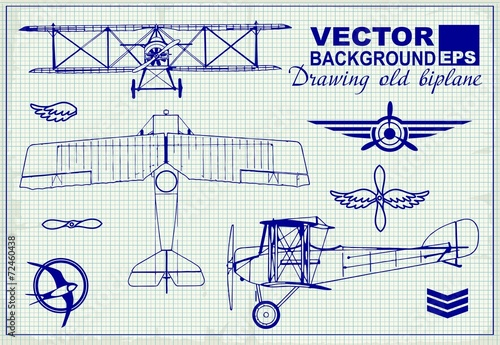 Wallpaper Mural Vintage airplanes drawing on graph paper and design elements
