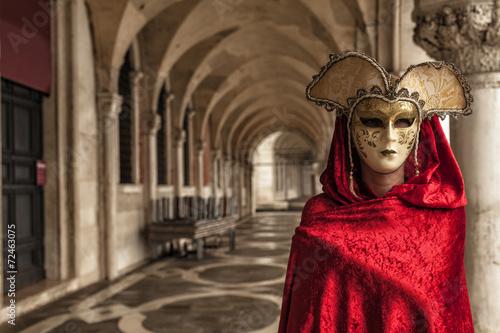 Obraz na plátně Krásná žena v tajemné masky