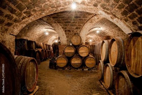 Barrels in a hungarian wine cellar Fototapet