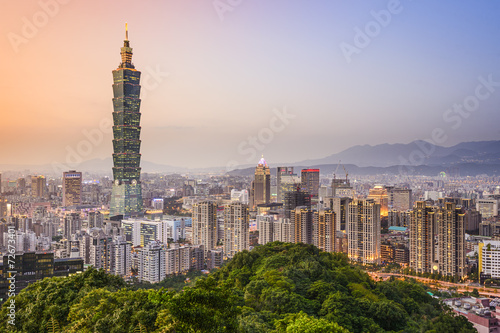 Fototapeta premium Tajpej, panoramę miasta Tajwan