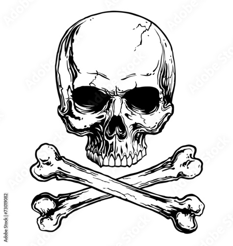 Fotomural Black and white skull and crossbones isolated