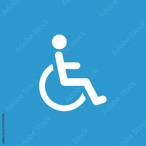Fotografia cripple icon, white on the blue background .