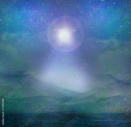Obraz na plátně Star of Bethlehem illustration of the star over the desert