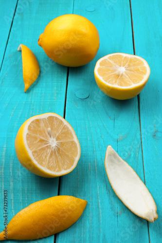 Lemons on the bright cyan background