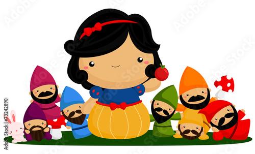 Canvas Print princess and seven dwarf