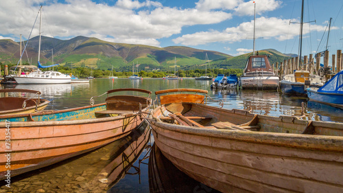 Fotografiet Boats moored at Derwent Water,The Lake District, England