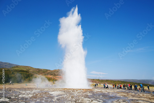 Geyser Strokkur eruption in the Geysir national park, Iceland. Fototapeta