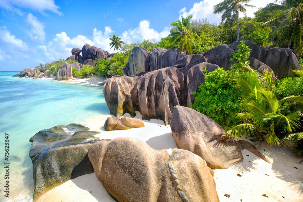 Anse Source d'Argent beach, La Digue Island, Seyshelles - obrazy, fototapety, plakaty