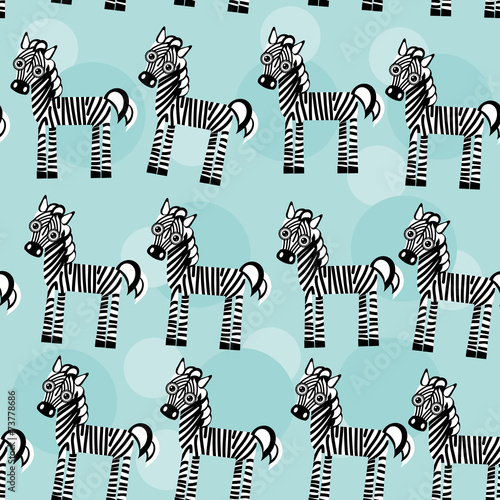 Zebra Seamless pattern with funny cute animal on a blue