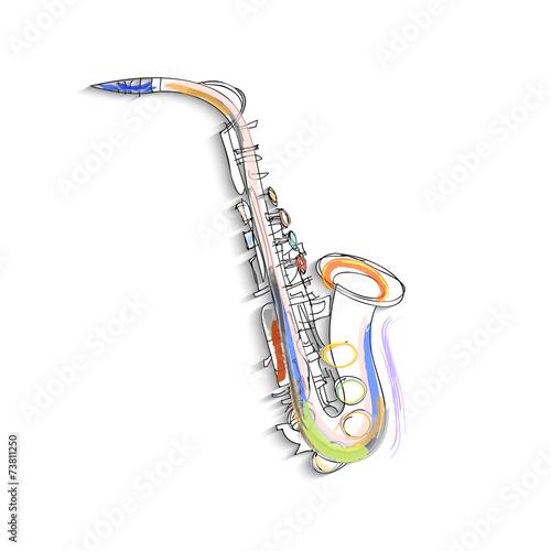 Obraz na płótnie Sketch of saxophone on white background