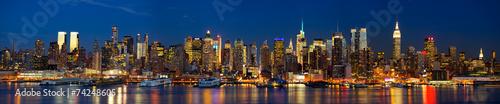 Panorama panoramę Manhattanu w nocy, Nowy Jork