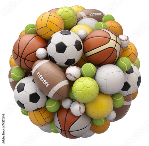 Valokuva Sport balls isolated on white background