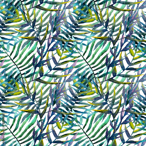Fototapeta Zielone liście akwarela na białym tle na zamówienie