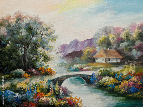 oil painting on canvas - Ukraine house in the forest