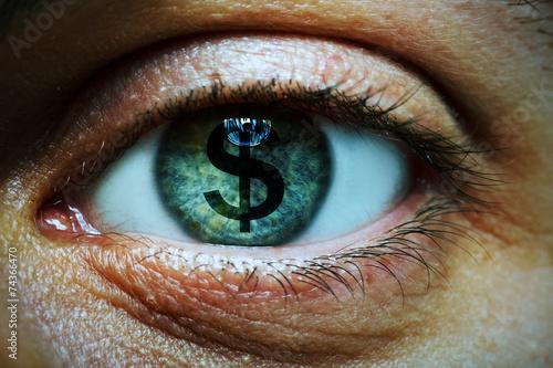 Fotografia, Obraz Man with a dollar symbol in his eye