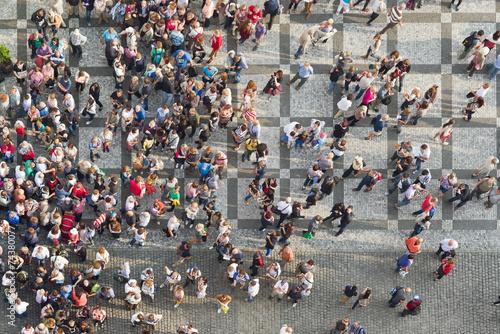 Obraz na płótnie Turyści w Pradze Rynek Starego Miasta
