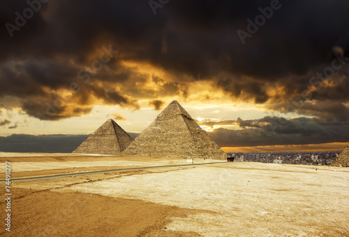 Pyramids at Giza on the background of the Sunset,Cairo, Egypt #74498277