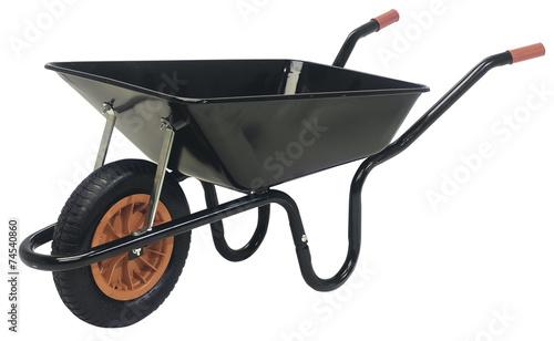Tableau sur Toile Black galvanised steel wheelbarrow cart isolated on white
