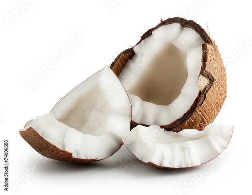 Broken raw ripe coconut Fototapeta