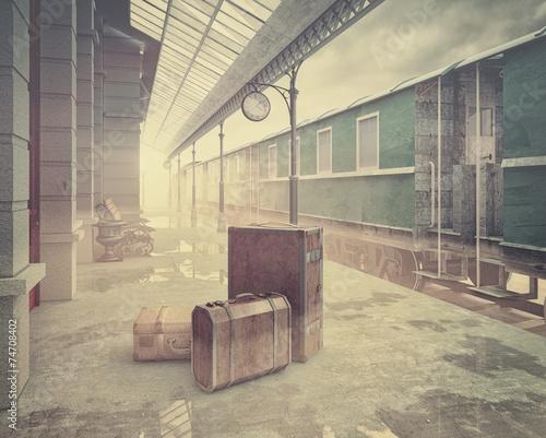 the retro railway  train station