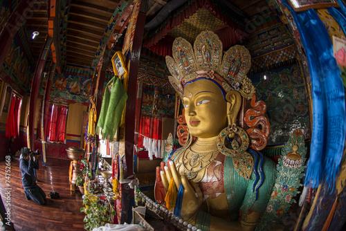 Canvastavla The statue of Maitreya Buddha at Thiksey Monastery