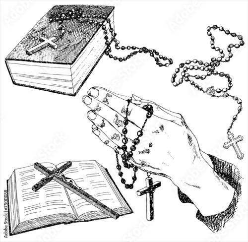 Fotografering Hand drawn christian signs. Vector illustration.