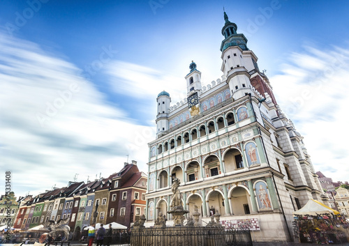 Historic Poznan City Hall located in the middle of a main square