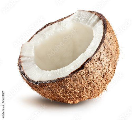half of coconut isolated on white background Fotobehang