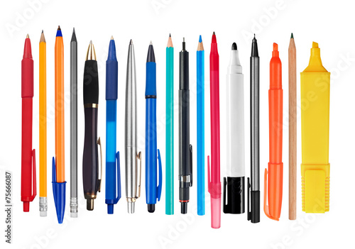 Leinwand Poster Pens and pencils