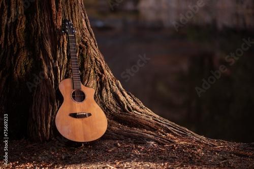 Obraz na płótnie Wooden Acoustic Guitar