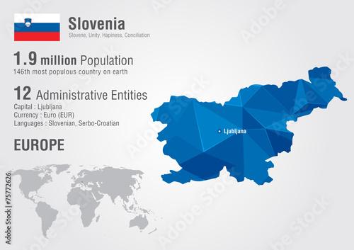 Photo Slovenia world map with a pixel diamond texture.