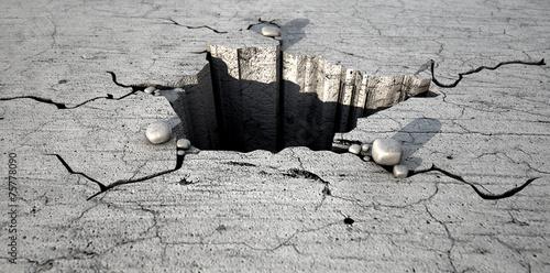 Valokuvatapetti Hole In The Cracked Ground