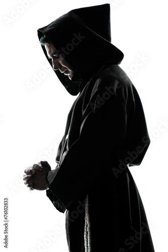 man monk priest silhouette praying Fototapeta
