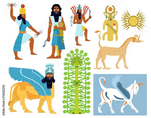 Ancient Babylonian gods, creatures and symbols Poster Mural XXL