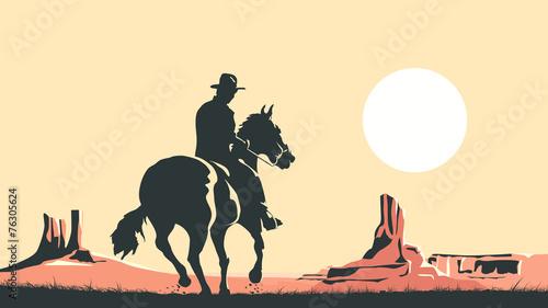 Tela Horizontal cartoon illustration of cowboy in prairie wild west.